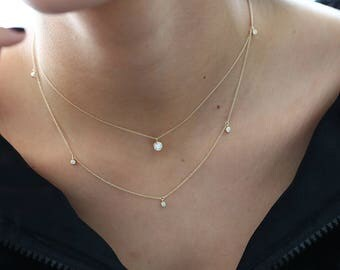 Diamond Solitaire Necklace - 0.30 Ct. Diamond Bezel Set Solitaire Necklace available as 14k Gold, White Gold or Rose Gold