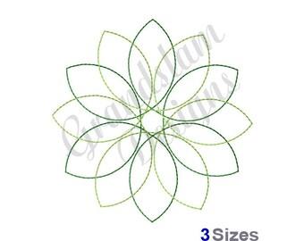 Floral Spirograph Redwork - Machine Embroidery Design