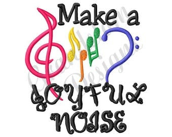 Music Make A Joyful Noise - Machine Embroidery Design