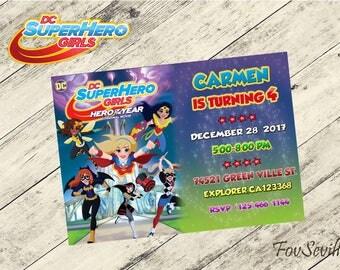 Dc superhero girls,superhero girls,dc superhero girls invitation,superhero girls birthday invitation,dc superhero girls download,superhero