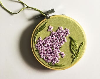Lilac Plant - Hand Embroidered Wall Decor
