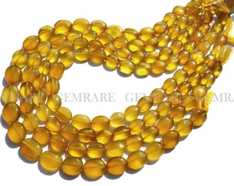 Yellow Chalcedony beads, Oval Smooth beads, Quality AAA, 8.50x10.50 to 9x11.50 mm, 36 cm, 29 pieces, CHALCEDON-013/1, Semiprecious Stone