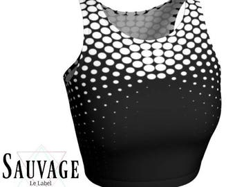 Black and white dots • Athletic crop top • Festivals and yoga classes approved • handmade in Montreal - Xs to XL