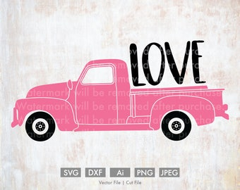 Loads of Love Old Truck - Cut File/Vector, Silhouette, Cricut, SVG, PNG, Clip Art, Download, vday, Holidays, Retro, Love, Valentine's Day
