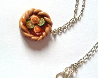 Chocolate and fruit tart necklace