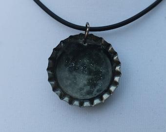 Moon bottle cap necklace