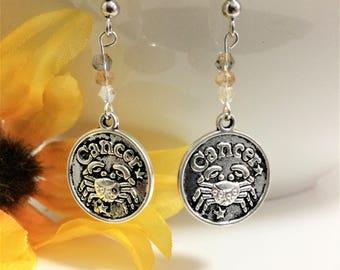 Cancer Earrings - Zodiac Jewelry - Zodiac Earrings - Astrology Earrings - Horoscope Earrings - Gift for Cancer - Astrology Earrings - Crab