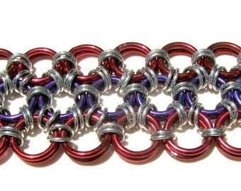 """Japanese Lace Chain-Maille Anodized Aluminum Weave Bracelet 6 3/4"""" (17cm) Long"""