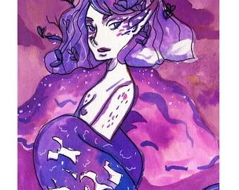 Weather Mermaid Print A5