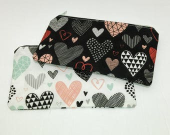 Hearts Geometrical Love Valentine Novelty Zipper Pouch - makeup bag; pencil case; gift for her; cosmetic bag; carry all; gadget case
