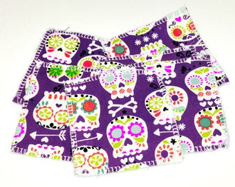 6 Reusable Sugar Skull Cotton Wipe Alternative Pads - eco-friendly; 3 inch pads; cleansing pads; facial rounds; flannel, Gift for her