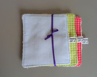 Set of 3 wipes washable and reusable cotton and sponge