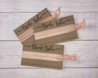 Bride Tribe Hair Ties Bachelorette Party Favors Peach Shimmer Bridesmaid Hair Tie Bridal Shower Thank You Gift Beach Wedding
