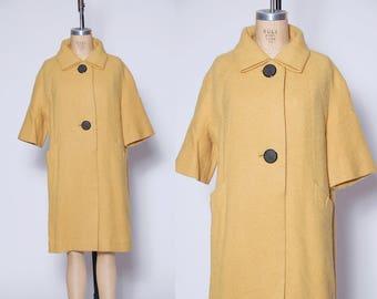 Vintage 50s yellow wool coat / boucle wool jacket / Benmore jacket / A- line rockabilly coat