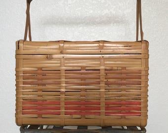 Vintage Woven Bamboo Split Cane Sewing Knitting Beach Picnic Basket
