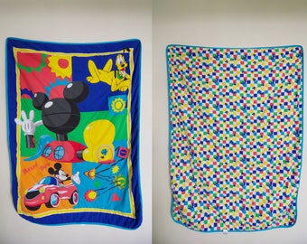 Vintage Disney Mickey Mouse Gadget Gears Car Robot Pluto the Dog Quilted Blanket / Kid's Room Comforter / Color Block / Cartoon Double Sided