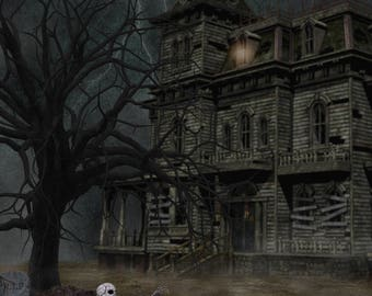 Haunted house digital background