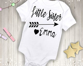 Personalized Little Sister with Name Onesie