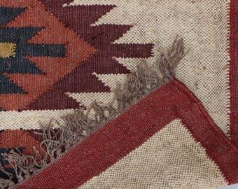 Handmade KILIM Rug; Jute Rug; Kilim Dhurrie; Traditional Style; Geometric Shapes, Basic, Chic, Victorian, Hipster, Hippie; FREE SHIPPIING