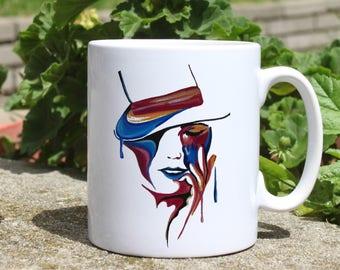 Woman with hat mug - Watercolor mug - Colorful printed mug - Tee mug - Coffee Mug - Gift Idea