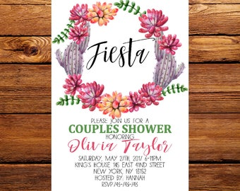 Fiesta Couples Shower Invitation, Mexican party Invite,Bridal Shower, Engagement Party, Couples Shower, fiesta couples  invite 188