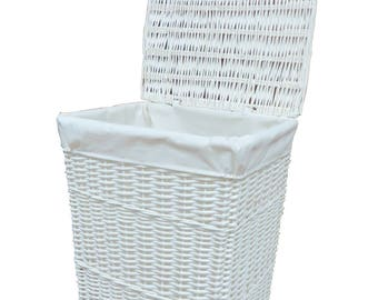 Laundry Basket wicker with white cloth lining