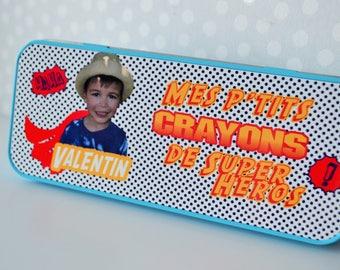 BOX Pencil Pouch personalized super hero