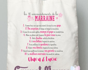"GODMOTHER gift tote bag ""the 10 commandments"" pink"
