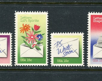 National Letter Writing Week Stamps/USA Postage Stamps/ 6 Unused Stamps
