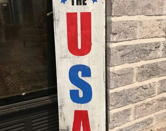 20x5.5 God Bless The USA hand painted wood sign