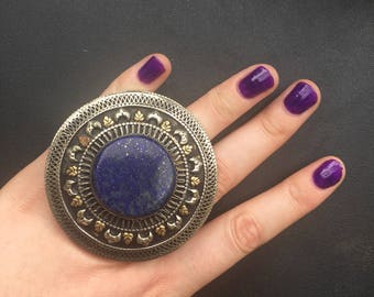 Giant Lapis Tribal Ring