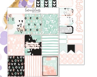 Lovely Mint (EC) Kit - Functional Planner Stickers Erin Condren Life Planner Vertical Mambi Happy Planner Travelers Notebook