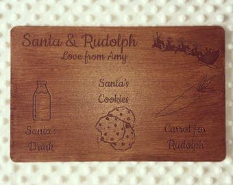 Personalised wooden christmas eve board for Santa and Rudolph.