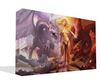 Fantasy Fire and Ice Dragons with Maiden Print Wall Art Ready To Hang Or Poster Print