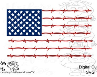 barbed wire flag usa svg - cut file for cricut, silhouettte for t-shirts, decals and more, rustic, western, farm, ranch