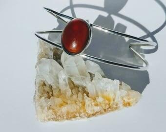 Sterling Silver Hessonite Garnet Cuff Bracelet