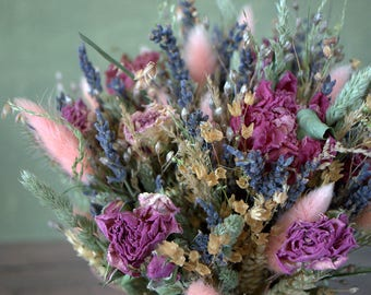 Romantic bouquet, vintage wedding bouquet, dried flowers, woodland bouquet, rustic home decor wild herbs shabby, country, old cottage style