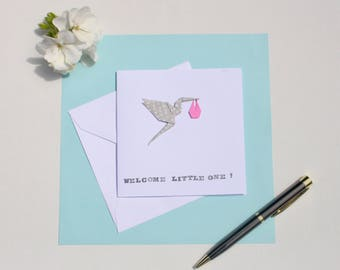Origami Stork New Baby Greetings Card (Pink)