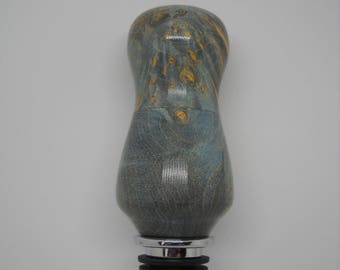 Blue maple burl wine bottle stopper