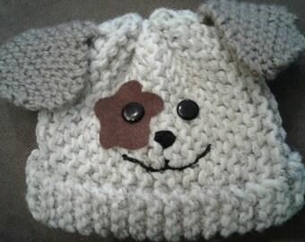 Children's Knit Doggie Hat - Handmade in USA. Size 6 months - Toddler.