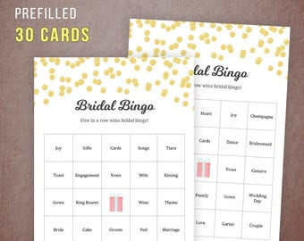 Prefilled Bridal Shower Bingo Cards, Bridal Shower Games Printable, Gold Confetti Shower Games, 30 Unique Bingo Cards, Wedding Shower, A001