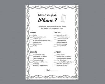 Whats in Your Phone Game Printable, Floral Bridal Shower Games, Country Style Wire Mesh Fence, Cell Phone Game, What's on Your Phone, A023