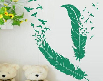 """Feather birds soaring"" decal"