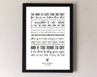 By your side, song lyrics print, sade, wedding song first dance anniversary gifts, wedding gift gift for husband gift for wife justin nozuka