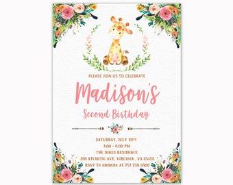 Giraffe Birthday Invitation, Girl Birthday Invitation, Safari Birthday Invitation, Giraffe Birthday Invite, Printable Invitation