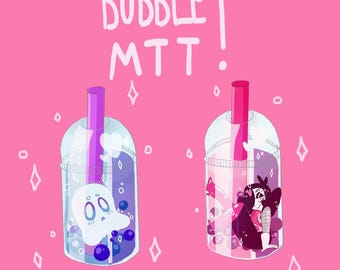 Mettaton and Napstablook Bubble Tea Stickers