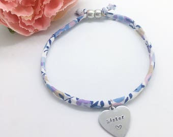 Personalised adults 'Sister' Liberty bracelet | Gifts for women | Gifts for sister | Personalised gifts | Fabric bracelet | Charm bracelet