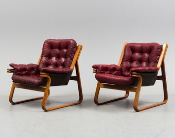 Scandinavian easy chairs set of two