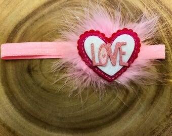 Valentines headband, Valentines Day headband, heart headband, v day headband , love headband, pink headband,  baby headband, pink heart bow