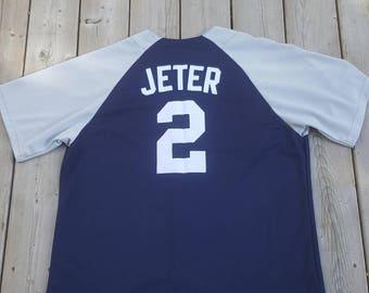 New York Yankees #2 Derek Jeter Majestic Baseball Jersey Mens Size XL MLB 90s 2000s Vintage Jersey